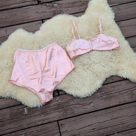 Vtg 1930s Rayon Pink Lingerie Set, Bra, Underwear