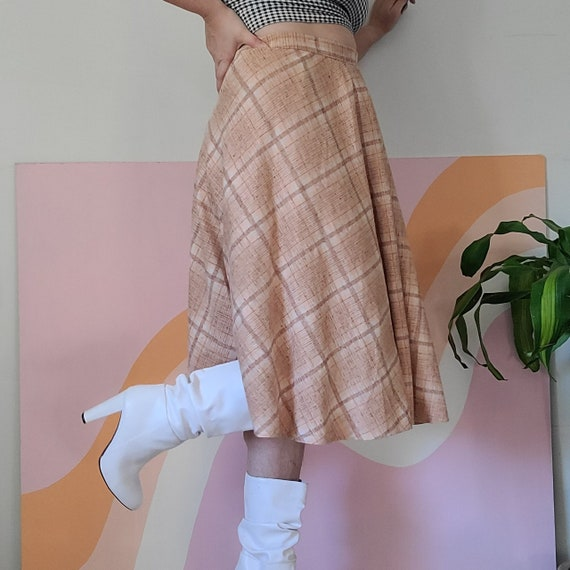 1970s Pink Plaid Circle Skirt
