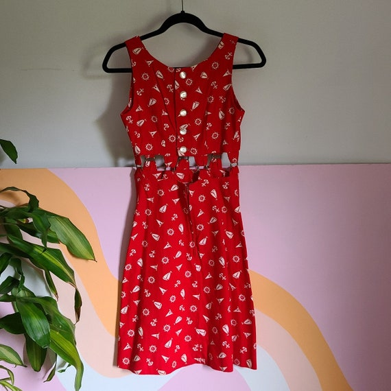 1960s Nautical Cut Out Dress