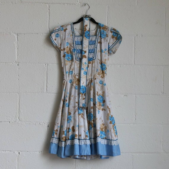 Vintage 1970s Square Dance Blue floral Dress