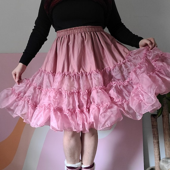1980s Pink Petticoat Skirt Square Dance Dress