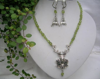 Gemstone Beads Set Peridot-nuggets green with deer necklace and earrings-costume Jewelry