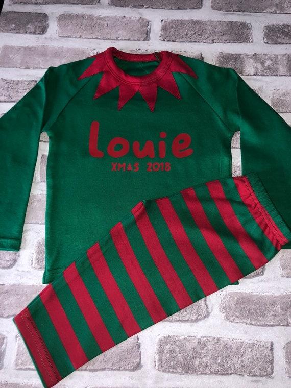 Christmas pyjamas elf pyjamas personalised pyjamas xmas  92dfc49c0