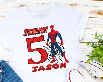 684d95185 Spiderman T-shirt | PERSONALIZE | Add Name/Age | Tee Designs | Toddler,  Youth, Adult Sizes | kids and adults , Birthday t-shirt gift K10