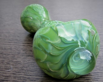 Glass Pipe Jade Green Solid Color Large Chunky Colorful Smoking Bowl