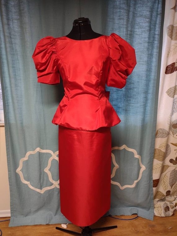 1980s vintage red prom dress with big puffed sleev