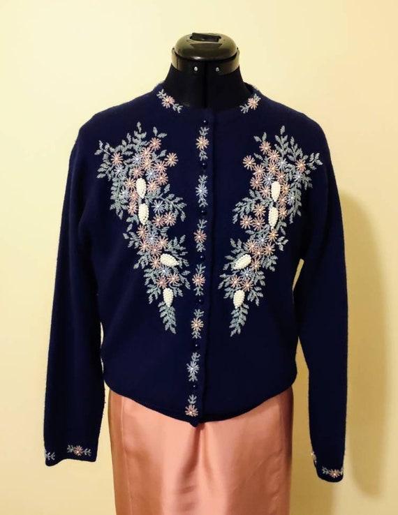 1950s vintage beaded cardigan/ true vintage 1950s