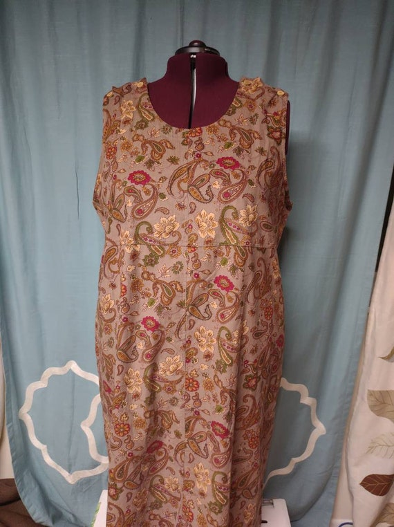 Vintage 1990s courduroy jumper dress/ paisley jump