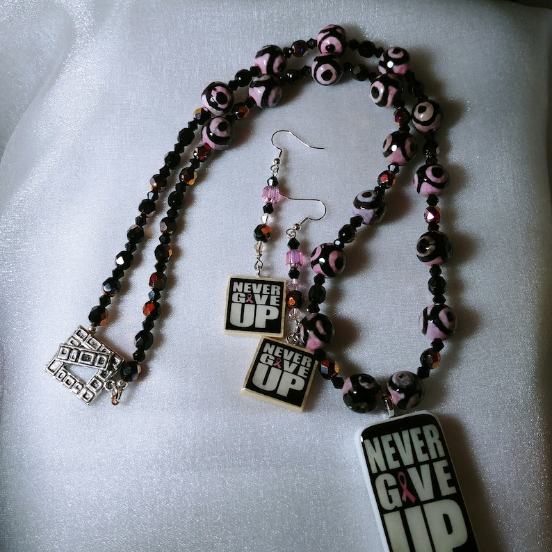 25 inch Breast Cancer Awareness Necklace Earrings Set Pink Ribbon Never Give Up Domino Scrabble Tile One of a Kind Handmade Black and Pink