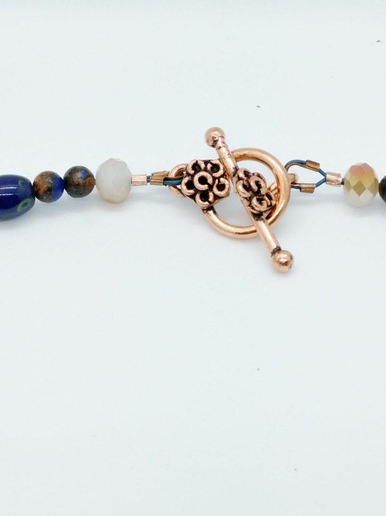 Lapis Lazuli Bronzite Austrian Faceted Crystal Handcrafted Beaded Jewelry set Graduated Collar Necklace Pierced Earrings Genuine Gemstones