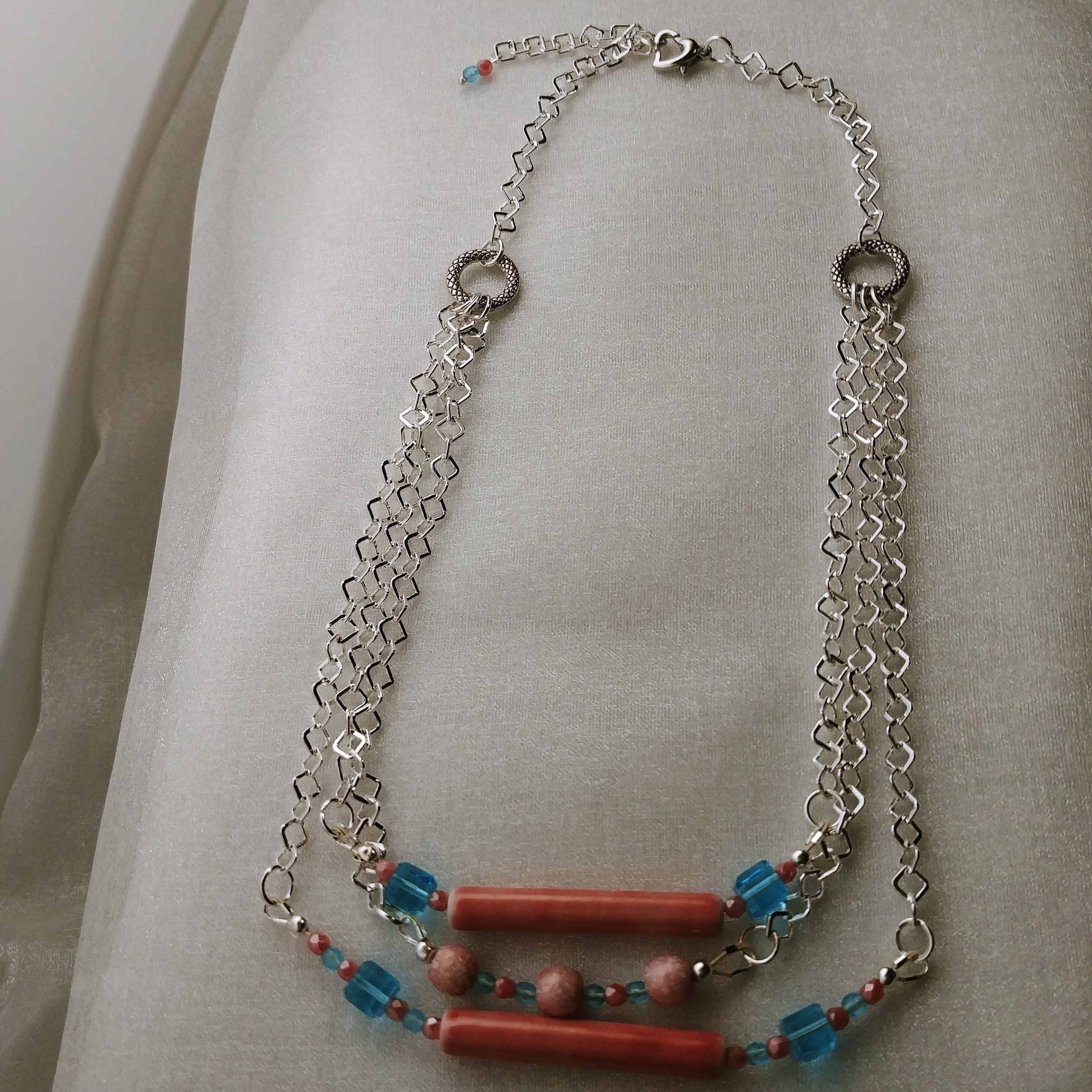 Strand Necklace Pink Cracked Agate Gemstone Blue Glass Bead Glass Lampwork Tube Bead Square Silver Plated Chain Fire Polished Bead