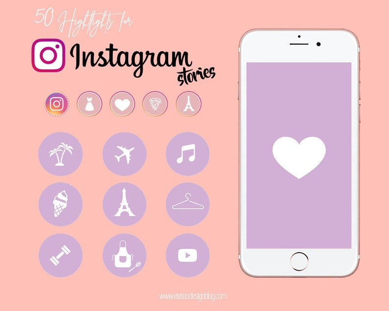 Instagram story highlight  50 white icons in purple template image 0
