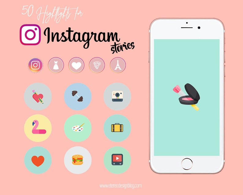 Instagram story highlight  50 Pastel colours and funny icons image 0
