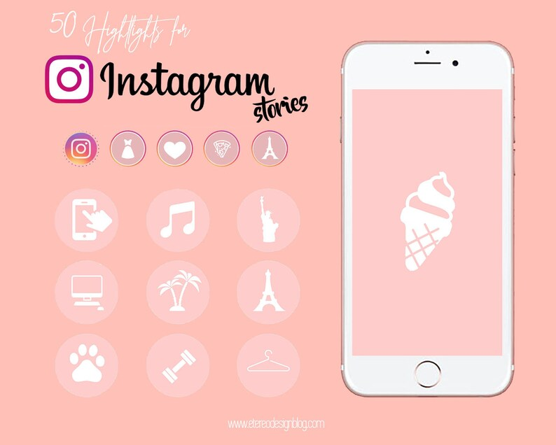 Instagram story highlight  50 white icons in pink template image 0