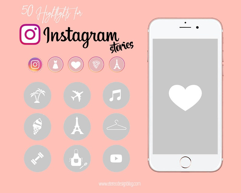 Instagram story highlight  50 white icons in grey template image 0