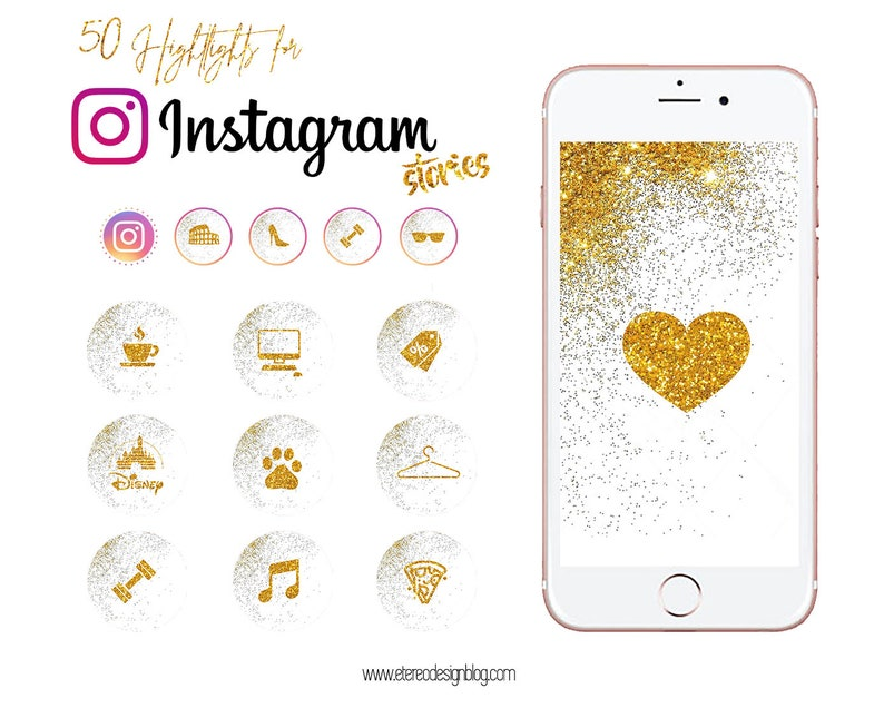 Instagram story highlight  50 golden glitter icons image 0