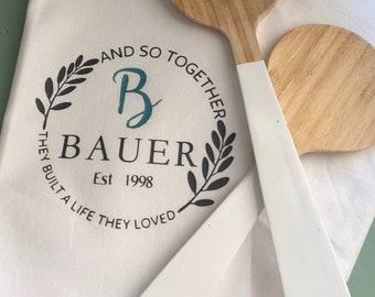 Monogram kitchen towel-Personalized kitchen towel-Monogram ...