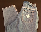 Vintage Hollywood tapered mom jeans high waisted silver detail zippered ankle hipster women 39 s