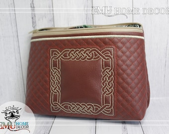 Celtic Knot Travel Bag, Cosmetic Make-up bag 25 x 17 cm | fully lined | Maroon Washable Vinyl |  handmade in Australia by Emu Home Decor