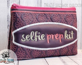 Selfie Prep Kit Travel Bag, Cosmetic Make-up bag 25 x 17 cm | fully lined | PLUM Washable Vinyl |  handmade in Australia by Emu Home Decor