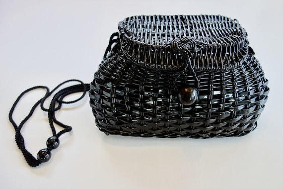 Vintage Retro Small Black Woven Weave Bag by Etsy
