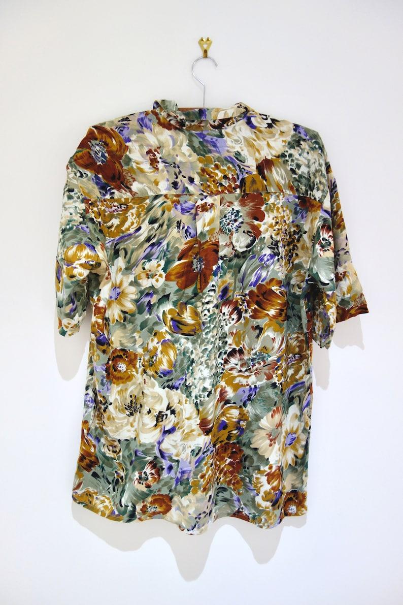 Vintage Floral Painted Flower Print Autumn Colours Shirt Blouse