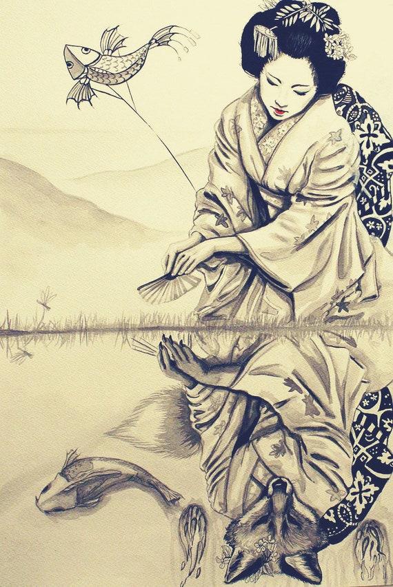 Conosciuto Ragazza giapponese. Disegno tradizionale giapponese. Geisha. | Etsy GM95