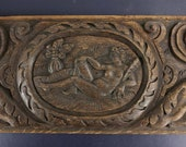 French Antique 18th Century Hand Carved Wood Oak Panel, Antique Wooden Wall Hanging Panel , Antique French Chimera, Primitive Wood Carving