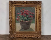 Distressed Pot of Flowers Painting, Antique Paris Gallery Gilt Framed French Oil Painting of Red Daisies, Home Gallery Accent Wall Decor