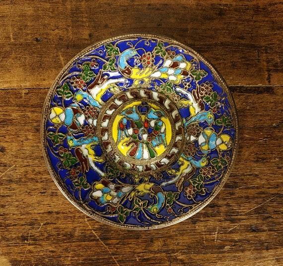 Russian Cloisonne Coin Dish, Champleve Bird Trinke