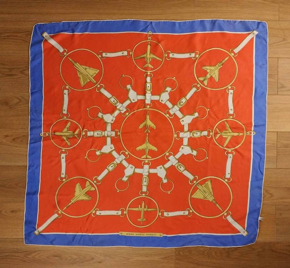 Vintage French Scarf, 1980s Silk Scarf, Vintage A… - image 8