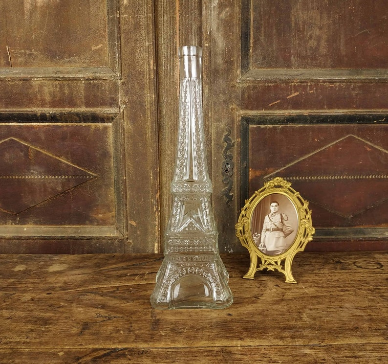 Vintage Eiffel Tower Bottle, Glass Decanter, Absinthe Water Bottle, Claret  Bottle, Antique French Bottle, French Glass Bottle,Antique Bottle