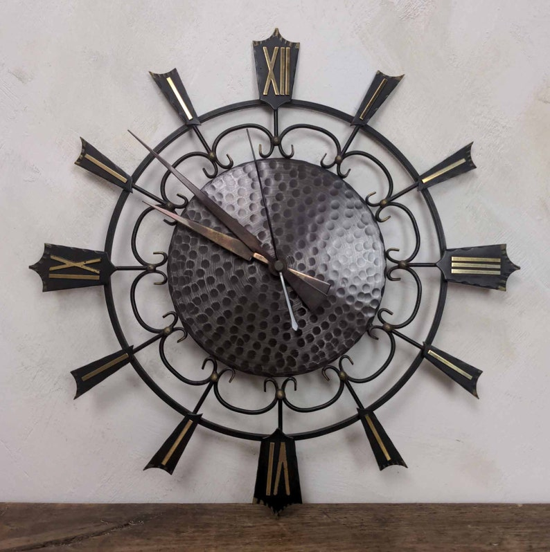 German Black and Gold Mid Century Clock Home Office Decor Battery Operated Black Metal Clock Junghans Starburst Battery Wall Clock