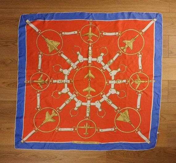 Vintage French Scarf, 1980s Silk Scarf, Vintage Ai