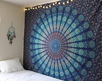 Marubhumi Fashions Blue Tapestry Wall Hanging Mandala Tapestries Indian  Cotton Bedspread Picnic Bed sheet Blanket Wall Art Hippie Tapestry 8efd4a0992