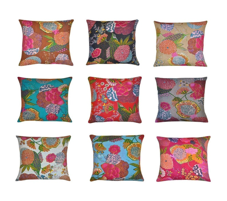 Indian kantha Throw Cushion Cover  Home Decor Pillow Cases image 0