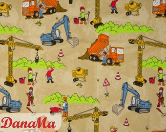 Jersey Fabric Construction Site Excavator Crane Vehicles Cars, Fabrics for Kids Baby Boys