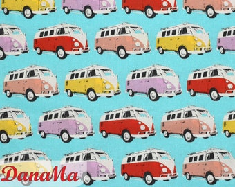 Cotton fabric BULLIS turquoise fabric VW buses by the meter Decorative fabric Bullies, Bully sew gifts