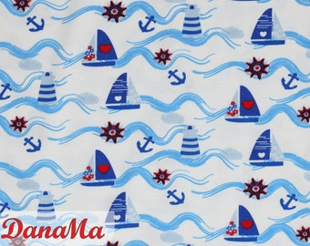 jersey boats maritime jersey fabric, boats sailboats lighthouse, anchor fabrics for children