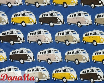 Cotton fabric BULLIS fabrics VW buses by the meter Bullies, Bully sewing gifts