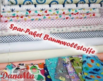 Savings package cotton - 5 m fabrics - fabric package cotton fabric woven goods for sewing gifts