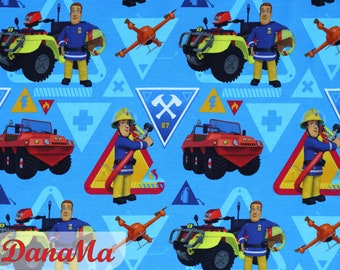Jersey Firefighter SAM Jersey Fabric Fire Brigade By the Meter Fabrics for Kids Boys