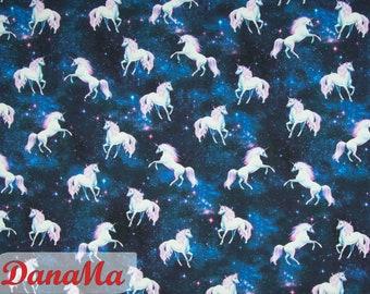 Jersey Unicorn, Fabrics for Kids Girls, Digital Print Unicorn Jersey, Unicorn in Space