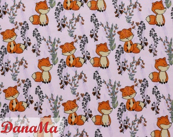 Jersey FUCHS fabrics for children Baby, pink foxes by the meter Fox fabric