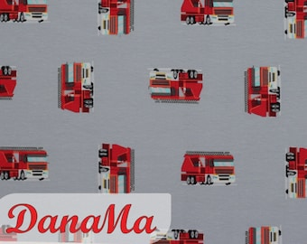 Jersey FIRE BRIGADE Cars - Fabrics for children Back to school Tatütata, cotton jersey by the meter