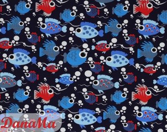Jersey fish with cuddly eyes, maritime fabrics for children baby, by the meter