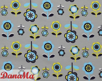 Jersey Retro Flowers + Flowers, Fabrics for Children Women, By the Meter Girl Fabric
