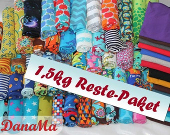 Fabric package 1.5kg jersey - 5 m fabric residues - leftovers cotton jersey, fabrics for children