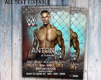Wwe Invitation Birthday Party Card Printable Invite Invitations Boy Smack Down Kids
