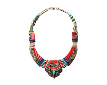Nepali & Tibetan Nacklace, Tibetan Jewellery, Inlaid Lapis Coral And Turquoise, Pendant Nacklace, White Metal Necklace, Hand Made In Nepal